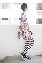 Ren Rong - Firmoo Glasses, Dresslink Kimono Cardigan, We Love Colors Thigh High Socks, Zalora Shoes - Super Hydro