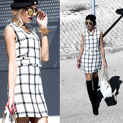 Dora D. - Rhinestone Cat Eye Sunglasses, Unika Paris Black And White Wool Dress, Black Suene Overknee Boots - If you are sad, add more lipstick