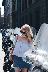 Elza B - Zara Striped Off The Shoulder Top, Zara Denim Skirt - When in Florence
