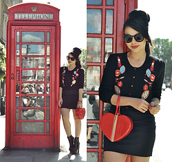 Clara Campelo - Bag, Zerouv Sunnies, Cardigan, Skirt, Public Desire Booties - Telephone box