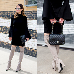 Jenn Lake - Milly Black Bell Sleeve Dress, Stuart Weitzman Highland Over The Knee Boots, Illesteva Milan Iv Sunglasses, Chanel Quilted Flap Bag - Black Bell Sleeve Dress