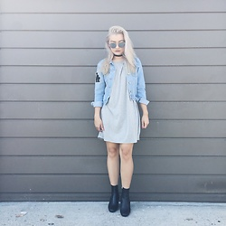 Haley D. - Sunglasses, Choker, Young & Reckless Denim Jacket, Forever 21 Dress, Zara Boots - Blues.