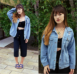 Bárbara Kohls - Sheinside Denim Oversized Jacket, Pantacourt - Pantacourt love