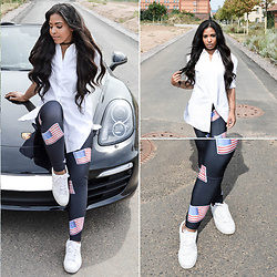 Chiara Culture With Coco - Marks & Spencer White Oversized Shirt, Asos White Shirt Dress, Nasty Gal White Shirt Dress, Awesome Legs American Flag Leggings, Luxury Divas Detailed Leggings, Pink Queen Flag Leggings - Stars & Stripes