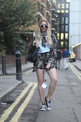 Laura Rogan - Missguided Jacket, Missguided Shorts - London Fashion Week SS17 Day 1