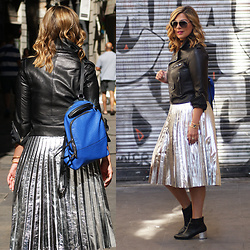 Jaclynn Brennan - Zara Metallic Accordion Pleat Skirt, Zara Leather Jacket, Michael Kors Ankle Boots, French Connection Uk Leather Backpack, Dolce & Gabbana Aviators, Diamonds Unleashed Twisted Metal Cuff - FALL FEELINGS