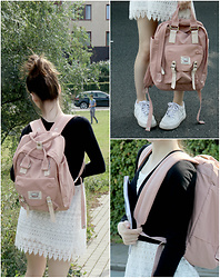 Lily Braz - Sanrense Nude Backpack, Nike Air Force 1, H&M Lace Dress, Forever 21 Black Wrap Over Top - Waterproof Nude Backpack