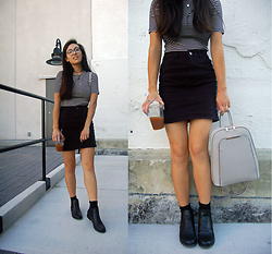 Sheila - American Apparel Striped Top, Primark Black Denim Mini Skirt, Boohoo Black Ankle Booties, Zaful Backpack - Denim Mini Skirt + Booties
