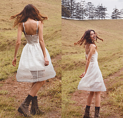 Elle-May Leckenby - Lace Splice Dress - 'We're all just walking each other home'