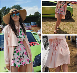 Laura E - Boohoo Pink Duster Coat, New Look White Playsuit - The pink duster coat
