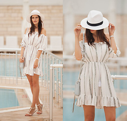 Viktoriya Sener - Poppy Lovers Dress, Rebecca Minkoff Bag, Mango Sandals, Asos Hat - NEAR POOL