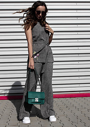 Guess What - Marks & Spencer Top, Marks & Spencer Pants, Parfois Bag, Adidas Shoes, Christian Dior Sunglasses - GREY WITH COLORS