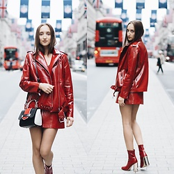 Gabriele Gzimailaite - Zara Jacket And Skirt, Ego Shoes - RED PATENT