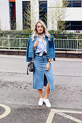 Charlotte Buttrick Lewis - Gant Boyfriend Shirt, Anita And Green Denim Midi Skirt, Choies Chloe Hudson Dupe, Michael Kors Strap White Trainers - Triple Denim Threat & Styling the Boyfriend Shirt