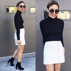 Elizabeth Strecher - Urban Outfitters Asymetrical Zip Skirt, American Apparel Ribbed Turtleneck, Steve Madden Heeled Booties, Miu Noir Cateye Sunglasses - Monochrome