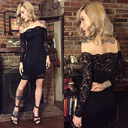 Brittany Bao - Forever 21 Ankle Strap Stilettos, Forever 21 Bow Choker, Acevog Lace Little Black Dress - Cheap chic: The LBD