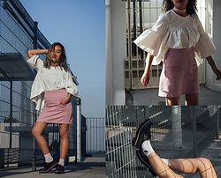 Sebelle Sharmine - Zaful Grey Platforms, Pomelo Pink Skirt, Closet London White Flared Sleeve Blouse, Styledasher Pink Choker - You Look Like An Angel