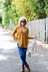 Kim Tuttle - Legend Footwear Fringe Boots, Sheinside Distressed Denim, Forever 21 Mustard Sweater, Jimani Collections Tatu Triangle Bone Necklace - Jewelry with a story
