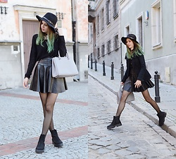 Ola Brzeska - Zaful Hat, Michael Kors Mk Bag, Cndirect Leather And Spiked Skirt, Altercore Boots - Rock romantic