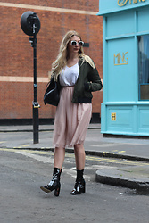 Laura Rogan - Miss Pap Jacket, Missguided Tshirt, Zara Skirt, Ego Boots - London Fashion Week SS17 Day 2