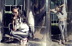 Tram Anh - Mirrored Sunnies, Crop Hoodie, American Apparel Disco Pants, Tamaris Sneaker Wedges - Falling back to Earth
