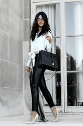 Florencia R - Gant Button Up Shirt, Saint Laurent Structured Tote, Blank Nyc Faux Leather Pants, Boohoo Suede Heels, Retro Super Future Tortoise Shell Glasses - Strictly Business