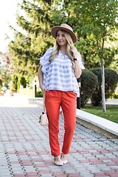 Andreea Ristea - Rose Wholesale Babydoll Blouse, Woman Fashion Orange Pants, Daniel Wellington Classic Watch - Orange chic
