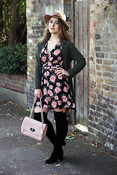 Daisy A - River Island Tan Fedora, New Look Khaki Green Light Dust Jacket, Topshop Black And Pink Floral Rose Tea Dress, Mulberry Ballet Baby Pink Leather Lily Handbag, Asos Heeled Black Over The Knee Boots - Sweater Weather