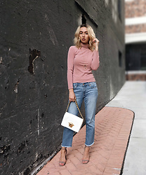 Jessica Luxe - Turtleneck, Gap Cropped Jeans, Versace Sultan Bag, Schutz Heels - Avoid Over-Dressing