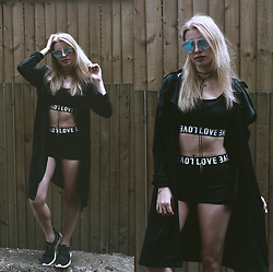 Vane ❀ - Cndirect Top + Shorts, Sammydress Coat, Zaful Sunnies - It's a Black and White Love