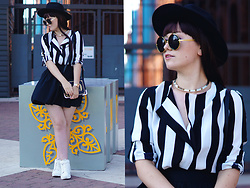 Karolina R. - Sammydress Long Sleeve Turn Down Collar Vertical Striped Loose Fitting Blouse, Sammydress Arrow Shape And Black Round Frame Design Sunglasses, Sammydress British Style Women's Crossbody Bag, H&M Hat, H&M Sneakers - City Witch