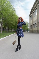 Irina Petrova - Kari Sunglasses, Centro Belt, Love Republic Zodiac Dress, Centro Little Bag, Centro Black Shoes - Hermione