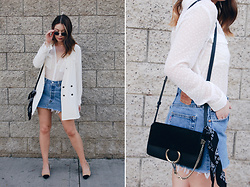 Taylor Smith - Stone Cold Fox Blazer, Zara Top, Levis Skirt, Chloe Faye Bag, Zara Heels - Classic White