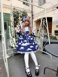 Melva Yan - Angelic Pretty Misty Sky Sp, Angelic Pretty Misty Sky, Angelic Pretty Princess Dotオーバーニー, Bodyline Black - Misty Sky - SP