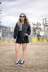 Sandy Joe Karpetz - Vans Black Hi Sk8 Suede, H&M Black Bomber Jacket, H&M Striped Ribbed Mock Neck Top, H&M A Line Black Denim Mini Skirt, Ray Ban Silver Mirrored Aviators, Smashbox Red Matte Lipstick In Fireball - Bomber