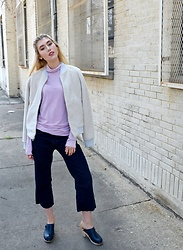 Dani Mikaela McGowan - Gap Turtleneck, Gap Sherpa Jacket, Gap Cropped Wide Leg Jeans, Gap Navy Clogs - Gap Baby