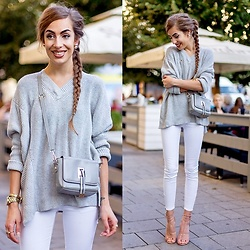 Markéta Bártová - Wholesale7 Gray Mini Crossbody, Gearbest Gray V Neck Sweater, Mango White Skinny Jeans, Mango Pink Studded Sandals - Foster the People - Broken Jaw