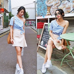 B @Style Voyage - Zara One Shoulder Top, Frontrowshop Faux Leather Skirt, Adidas White Sneakers - Summer Street
