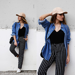 Melike Gül - Rose Wholesale Cap, Sheinside Denim Button Up, Sheinside Pants, Rose Wholesale Crossbody - Baseball Cap