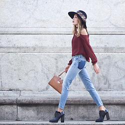 Lauren G. - Moussy Patchwork Jeans, And Other Stories Chunky Heels, Vintage Leather Satchel, Likely Sutter Cutout Top, Nasty Gal Panama Hat, Moschino Chain Print Scarf - Patchwork
