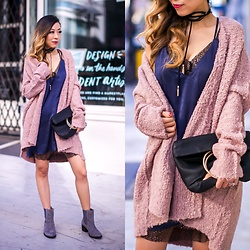 Sasa Zoe - Cardigan, Slip Dress, Bag, Comfy Boots, Choker - FALL UNI