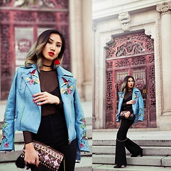 Louise Xin - Zaful Blue Embroidered Leather Jacket, Zaful Red Tassel Earrings, Zaful Velvet Choker, H&M Lace Body, Monki Black Flare Jeans, Indiska Embroidered Clutch, River Island Ankle Boots - That blue embroidered jacket