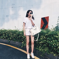 Cherry Mui - Zara Tshirt, Bershka White Denim Shorts - All white everything
