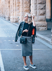 Lian G. - Warehouse Jacket, Chanel Bag, Costes Skirt, Tony Bianco Shoes - Re-united with my leather jacket