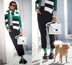 Galant-Girl Ellena - Mango Biker Jacket, Maxmara Wool Striped Scarf, Loeffler Randall Satchel Bag, Le Specs Square Sunglasses - Striped...