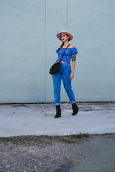Gemini Tauberge - A Lack Of Color Hat, Everlane Bag - Pink and Blue