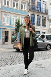 Joana Sá - Zara Shirt, Zara Golden Top, Fossil Rose Gold Watch, Parfois Bag, Zara Black Jeans, Adidas Superstar - Boss