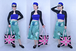 Suzi West - Flea Market Vintage Hat, Greaserage Clothing Company Sunglasses, Suzi West Model Barbie Feet Earrings, Louis Garneau Cycling Bolero, Forever 21 Crop Top, Odille Floral A Line Skirt, Victoria's Secret Pink Union Jack Tote, Cherokee Sporty Flats - 13 September 2016