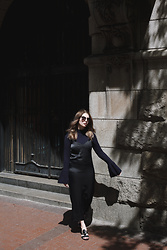 Amy S - Witchery Slip Dress, H&M Navy Turtleneck, Mango Sandals - All In The Sleeves