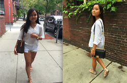 Monica and Bianca Roh - New Look White Chiffon Blouse, Louis Vuitton Bag, Brandy Melville Shorts, Ivanka Trump Sandals, Zara Button Down Shirt, Chanel Crossbody Bag, Hollister Shorts, Steve Madden Snakeskin Sandals - Outfit for the End of Summer
